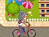 美眉骑车上学
