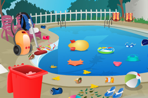 《打扫游泳池卫生》游戏画面1