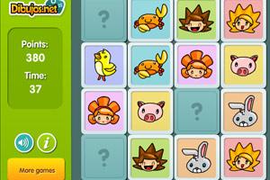 《小孩与小动物翻牌》游戏画面1