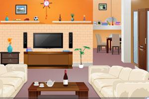 《橙色客厅逃脱》游戏画面1