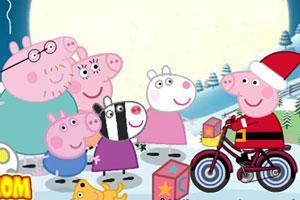 《粉红猪圣诞骑车》游戏画面1