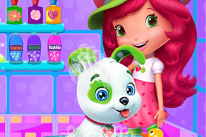 《草莓公主给狗狗洗澡》游戏画面1