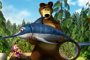 《玛莎和熊钓鱼找数字》游戏画面1