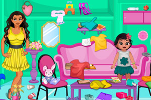《莫娜打扫客厅》游戏画面1