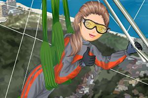 悬挂式滑翔的女孩